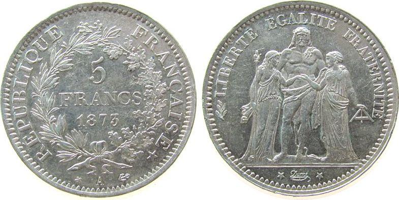 5 Francs 1873 Frankreich Ag Herkulesgruppe, A (Paris) vz