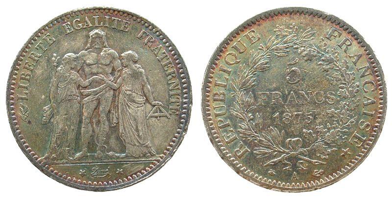 5 Francs 1875 Frankreich Ag Herkulesgruppe, A (Paris), kleine Randfehler, schöne Patina fast vz