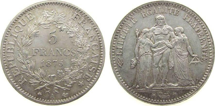 5 Francs 1875 Frankreich Ag Herkulesgruppe, A (Paris) unz
