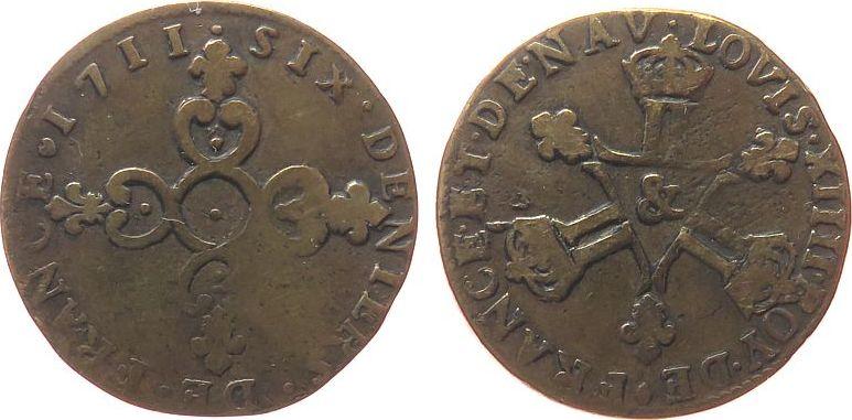 6 Deniers 1711 Frankreich Ku Louis XIV, & (Aix) fast ss