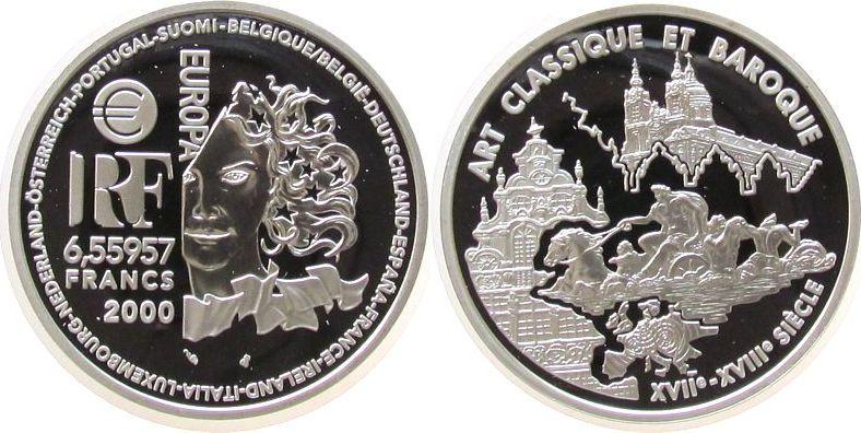 6.55957 Francs 2000 Frankreich Ag Stilrichtung der europäischen Architektur, Klassizismus und Barok pp