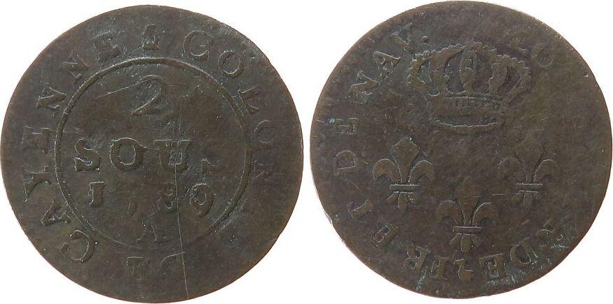 2 Sous 1789 Französisch Guyana Billon Louis XVI, Cayenne, A (Paris), Lecompte 31 ss
