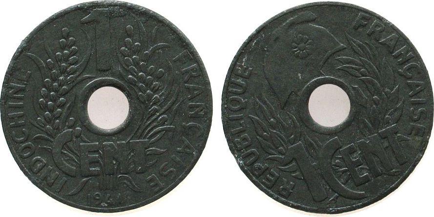 1 Cent 1941 Französisch Indochina Zink Gad. 9, Hanoi ss-vz