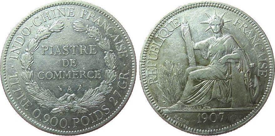 1 Piaster 1907 Französisch Indochina Ag Gad.35 ss