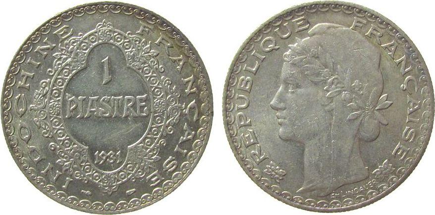 1 Piaster 1931 Französisch Indochina Ag Gad.36 vz