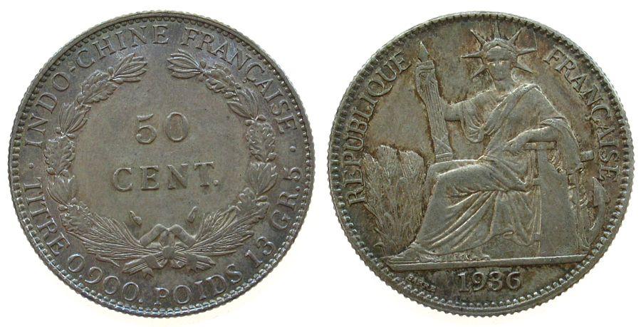 50 Cents 1936 Französisch Indochina Ag Gad. 32 vz-unc