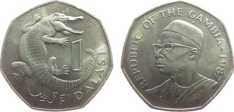 1 Dalasi 1987 Gambia KN Krokodil, Schön 23 vz-unc