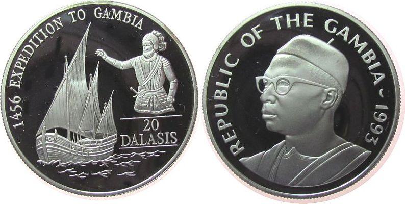 20 Dalasis 1993 Gambia Ag Segelschiff, Heinrich der Seefahrer pp
