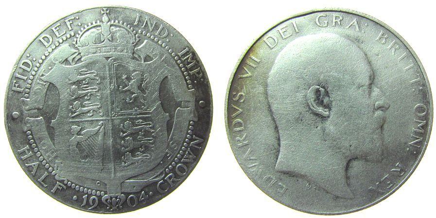 1/2 Crown 1904 Großbritannien Ag Edward VII, seltener, geputzt schön