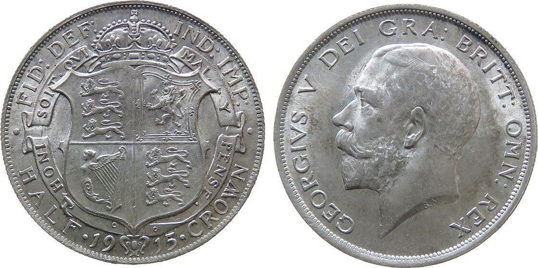 1/2 Crown 1915 Großbritannien Ag Georg V, Seaby 4011 unz
