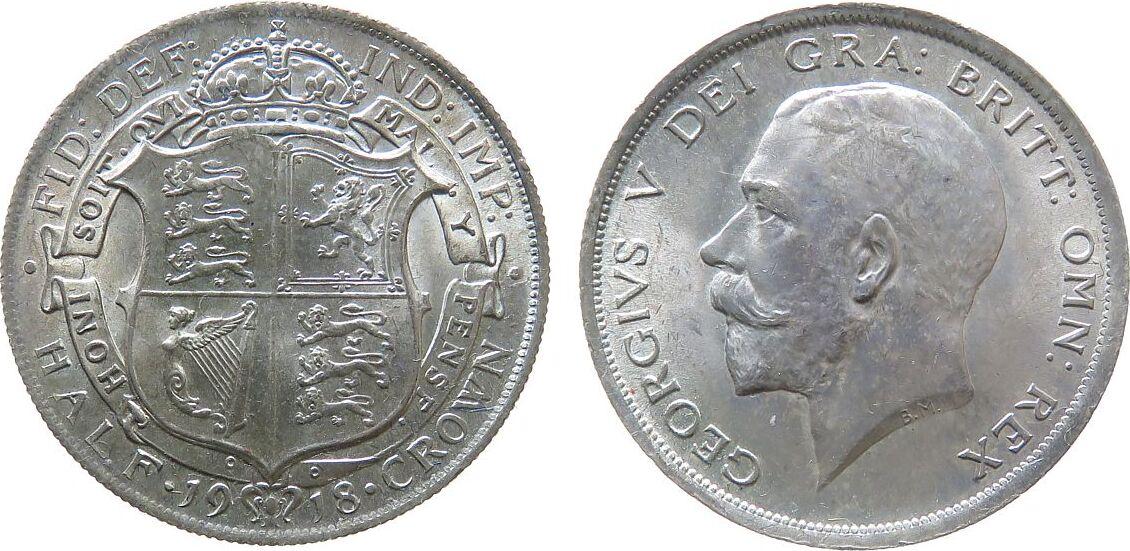 1/2 Crown 1918 Großbritannien Ag Georg V, Seaby 4011, zaponiert unz