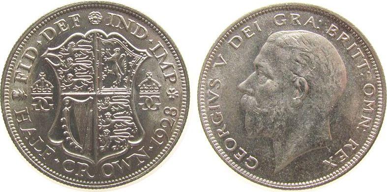 1/2 Crown 1928 Großbritannien Ag Georg V, Seaby 4037 stgl-
