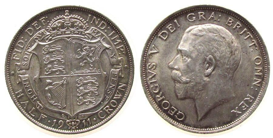 1/2 Crown 1911 Großbritannien Ag Georg V, Seaby 4011 vz+