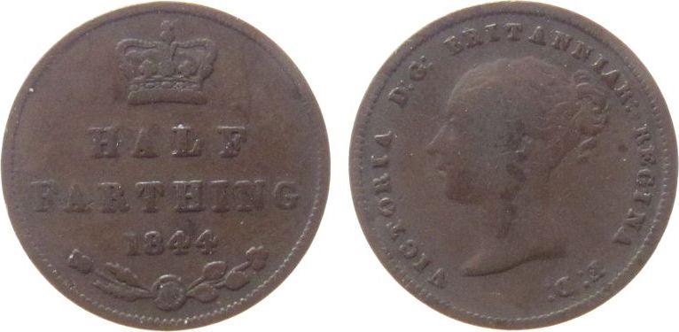 1/2 Farthing 1844 Großbritannien Ku Victoria schön