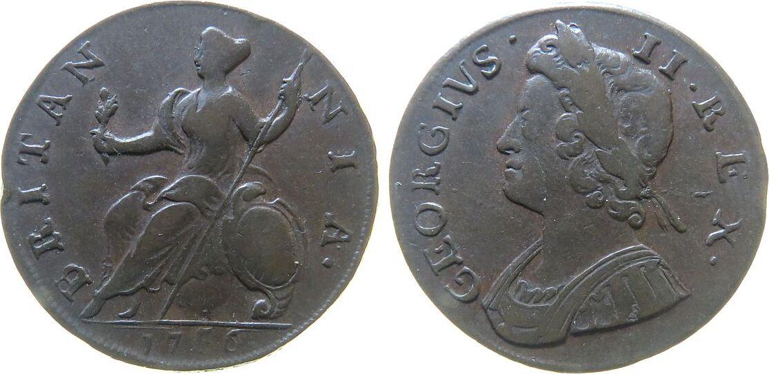 1/2 Penny 1736 Großbritannien Ku Georg II, 1736/0 fast ss