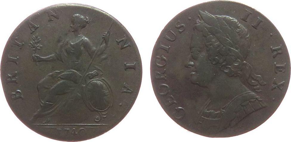 1/2 Penny 1740 Großbritannien Br Georg II ss+