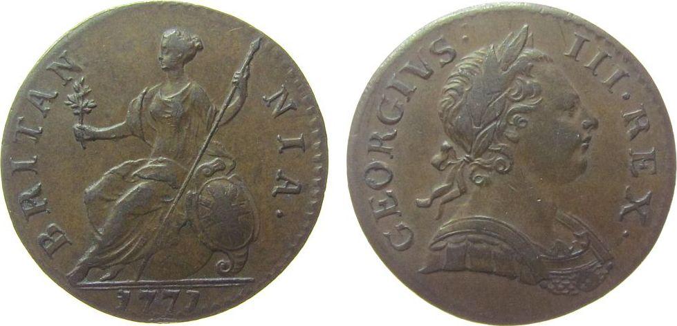 1/2 Penny 1771 Großbritannien Ku Georg III fast vz