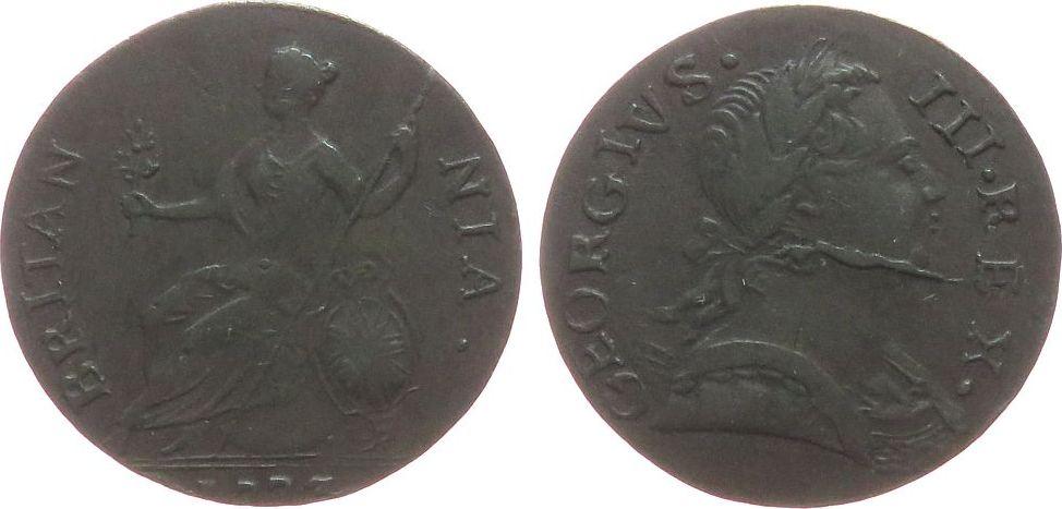 1/2 Penny 1773 Großbritannien Ku Georg III, Stempelausbruch ss