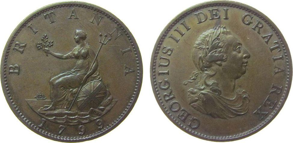 1/2 Penny 1799 Großbritannien Ku Georg III vz