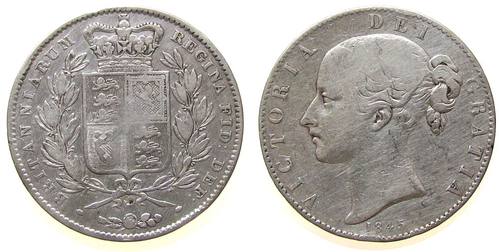 1 Crown 1845 Großbritannien Ag Victoria, cinquefoil stops, berieben fast ss