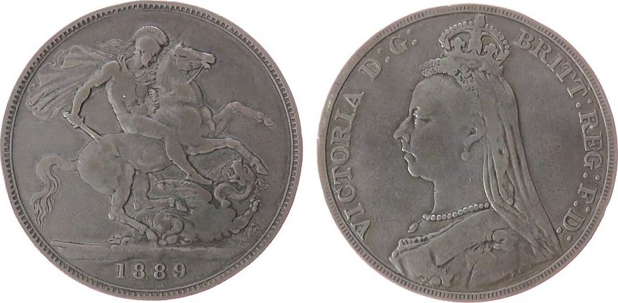 1 Crown 1889 Großbritannien Ag Victoria, Seaby 3921 fast ss