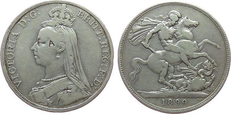 1 Crown 1890 Großbritannien Ag Victoria, Seaby 3921, Punze