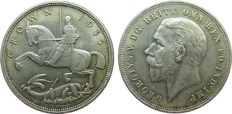 1 Crown 1935 Großbritannien Ag Georg V vz