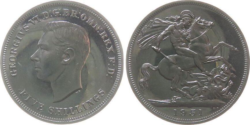 1 Crown 1951 Großbritannien KN Georg VI, Seaby 4111, zaponiert pl