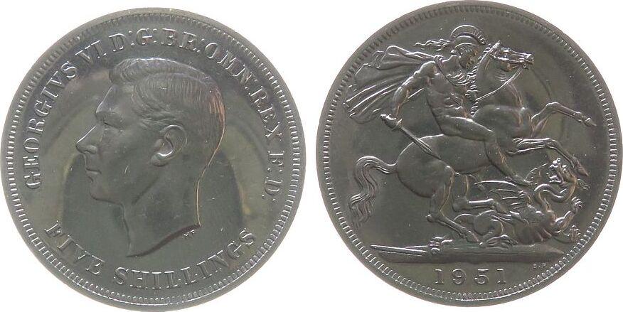1 Crown 1951 Großbritannien KN Georg VI, Seaby 4111 pl