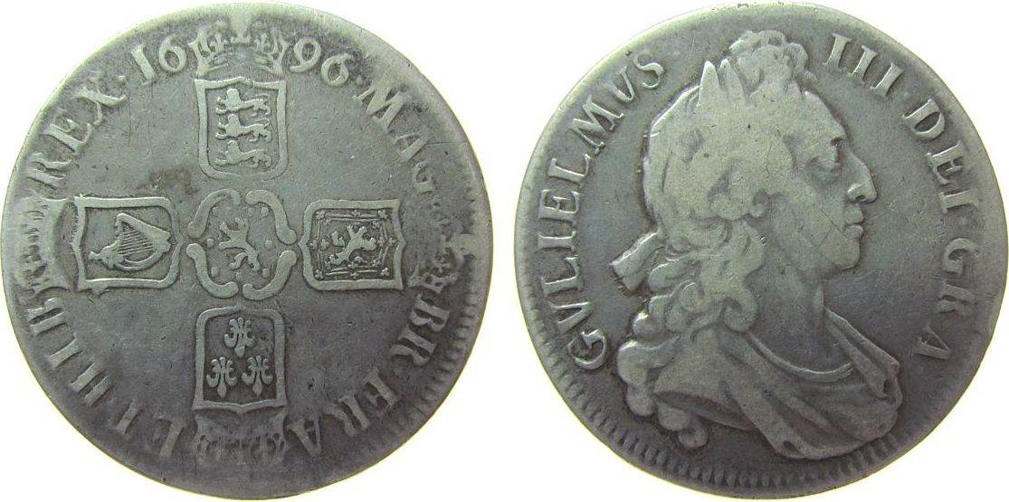 Crown 1696 Großbritannien Ag William III (1694-1702), Octavo, ESC 89 fast ss