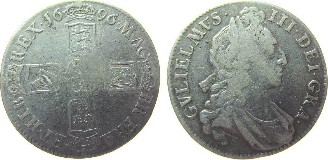 Crown 1696 Großbritannien Ag William III (1694-1702), Octavo, ESC 89 fast ss