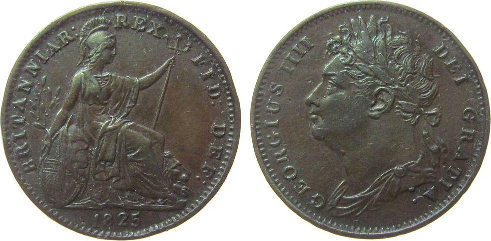 Farthing 1825 Großbritannien Ku Georg IV, kleiner Randstoß ss