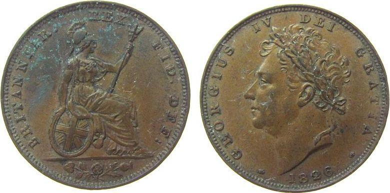 1 Farthing 1826 Großbritannien Ku Georg IV, Grünspan ss