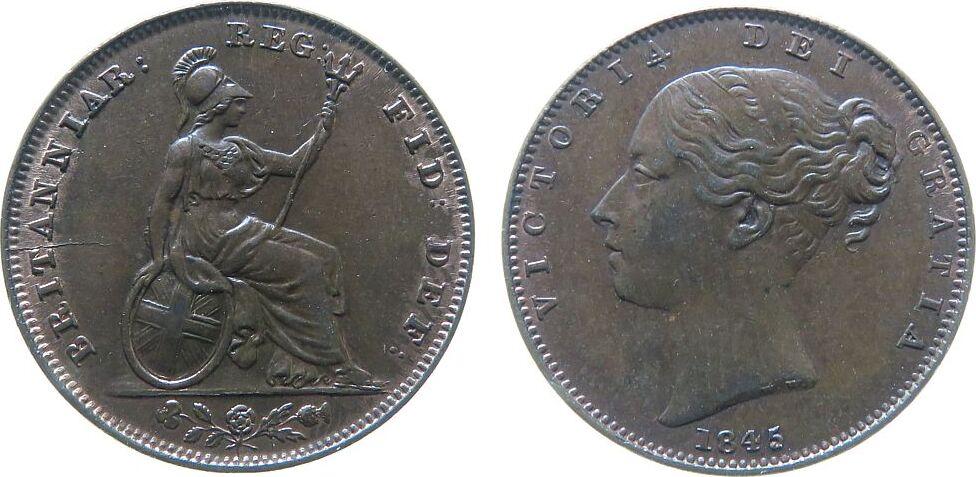 Farthing 1845 Großbritannien Ku Victoria, Stempelriß vz-unc