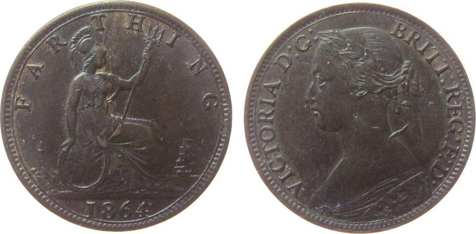 Farthing 1864 Großbritannien Br Victoria, ohne Serife vz