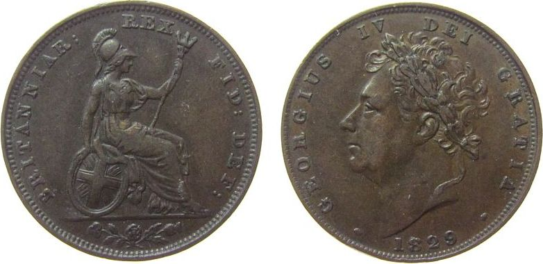 Farthing 1829 Großbritannien Ku Georg IV ss