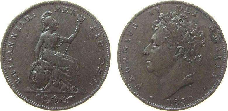 Farthing 1830 Großbritannien Ku Georg IV, kleine Randstöße ss