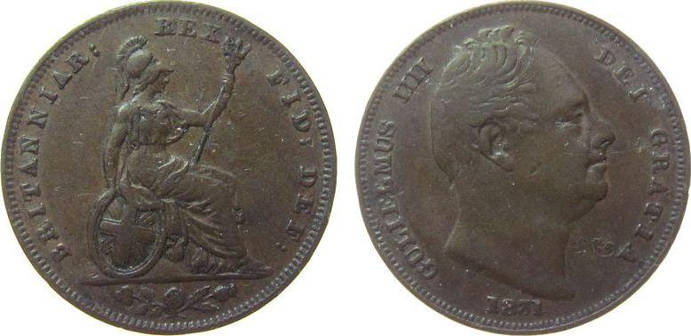 Farthing 1831 Großbritannien Ku William IV, feiner Kratzer ss
