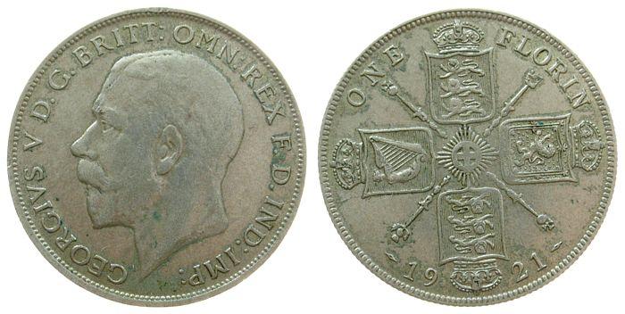 1 Florin 1921 Großbritannien Ag Georg V, Seaby 4022 ss