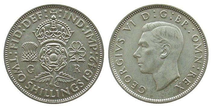 1 Florin 1942 Großbritannien Ag Georg VI, Seaby 4081 vz+