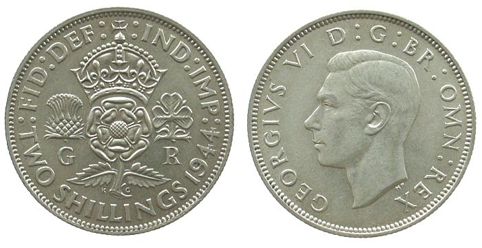 1 Florin 1944 Großbritannien Ag Georg VI, Seaby 4081 vz-unc