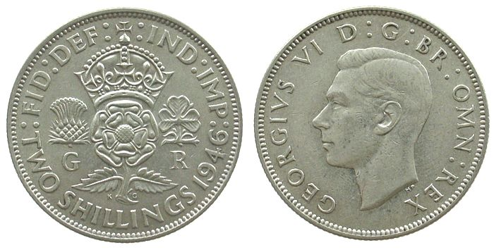 1 Florin 1946 Großbritannien Ag Georg VI, Seaby 4081 vz+