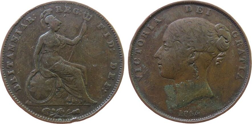 1 Penny 1854 Großbritannien Ku Victoria, Seaby 3948 s+