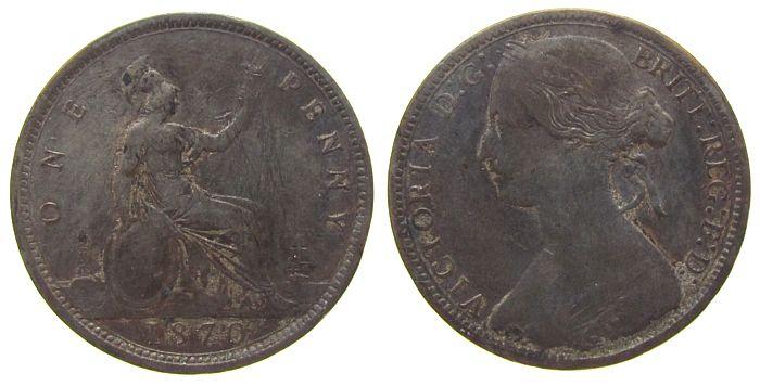 1 Penny 1870 Großbritannien Br Victoria,kl.Kratzer schön