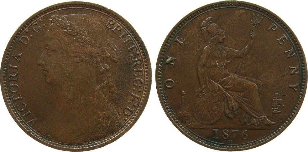 Penny 1876 Großbritannien Br Victoria, H, kleine Randfehler vz