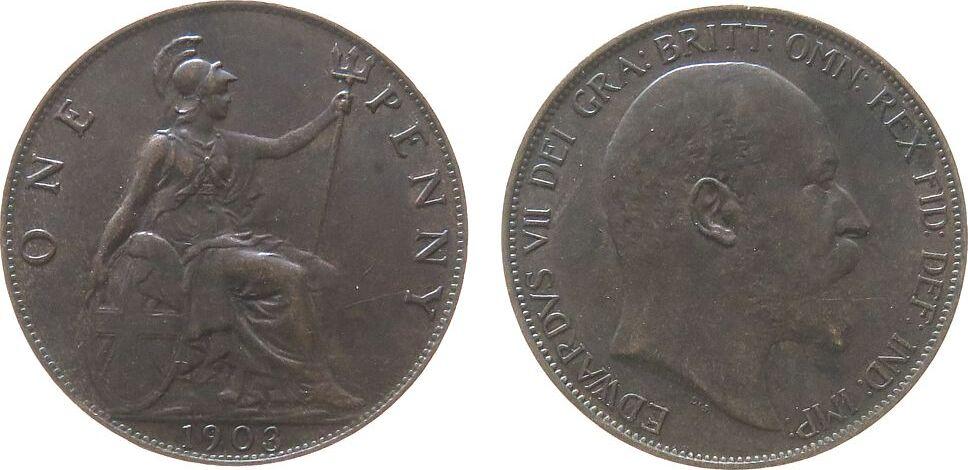 1 Penny 1903 Großbritannien Br Edward VII, Seaby 3990, normale 3 vz+