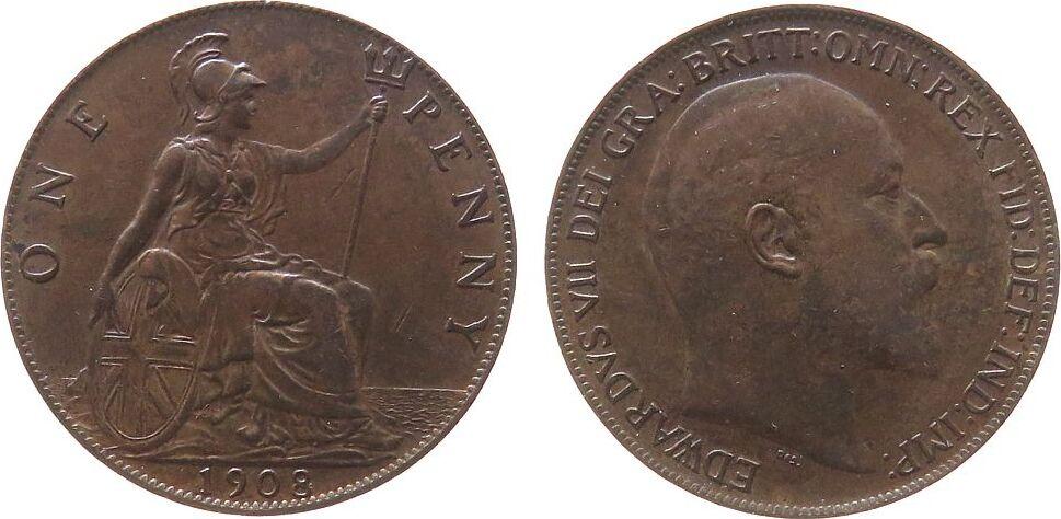 1 Penny 1908 Großbritannien Br Edward VII, Seaby 3990, winziger Randfehler vz+
