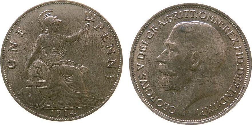 1 Penny 1914 Großbritannien Br Georg V, Seaby 4051, kleiner Fleck stgl-