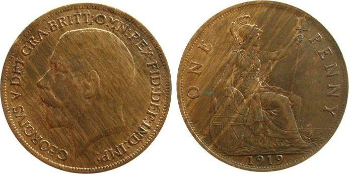 1 Penny 1919 Großbritannien Br Georg V, Seaby 4051, kleiner Randfehler, leichte Flecken vz