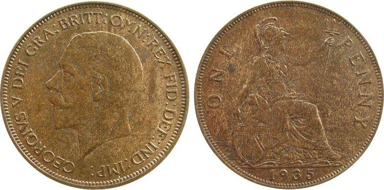 1 Penny 1935 Großbritannien Br Georg V, Seaby 4055, etwas fleckig vz-unc
